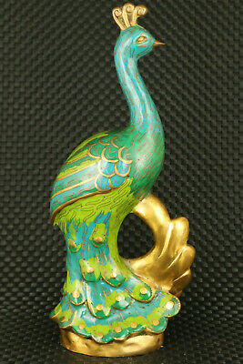Rare Chinese copper cloisonne decoration peacock statue collectable