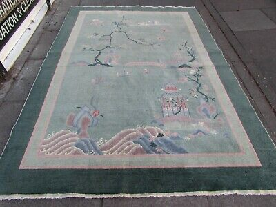 Worn Antique Hand Made Art Deco Chinese Green Wool Large Carpet 270x187cm