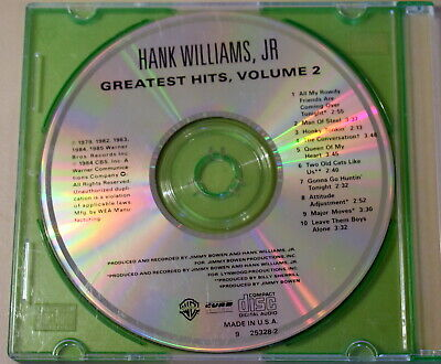 Hank Williams, Jr - Greatest Hits Volume 2 - 1984 Pre-owned CD Only