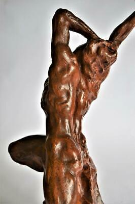 STUNNING LARGE ANTIQUE FRENCH TERRACOTTA  Signed MALE NUDE SCULPTURE circa 1900