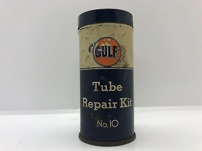 Vintage Gas & Oil Collectible Gulf Advertising Tube Repair Kit No. 10 Tin Can