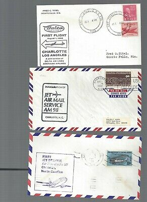 3 Charlotte North Carolina First Flight covers; 1958-68; to Memphis & Chicago