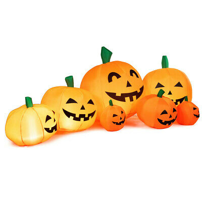 7.5' Halloween Inflatable 7 Pumpkins Patch W/LED Lights Outdoor Yard Decoration