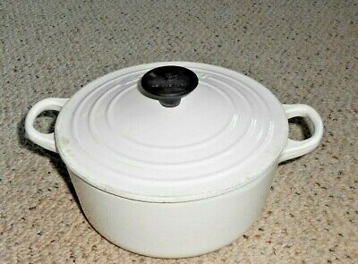 Le Creuset 2 Qt #18 White Round Cast Iron Dutch Oven Pot w/ Lid - France EUC