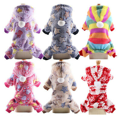 Dog Outfits Hoodie Jumpsuit Fleece Coat Soft Puppy Clothes Winter Small Pet