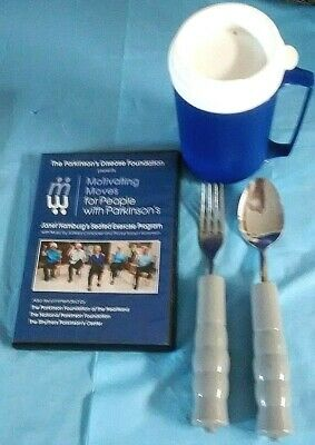 WEIGHTED UTENSILS SPOON FORK CUP disabled FREE SHIPPING parkinson's DVD