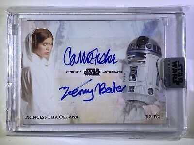 """2018 Star Wars Stellar """"Carrie Fisher & Kenny Baker"""" Dual Autograph Card 06/10"""