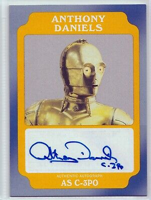 """2016 Star Wars Rogue One """"Anthony Daniels as C-3PO"""" Gold Autograph Card 07/10"""