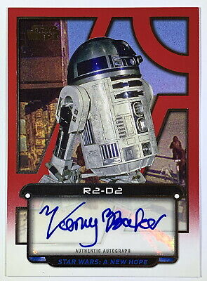 """Star Wars Galactic Files """"Kenny Baker as R2-D2"""" RED Parallel Autograph Card 1/1"""