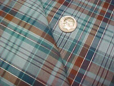 Vintage Cotton Quilt Fabric Blue Brown Silver Plaid Quilters Material Sew Craft