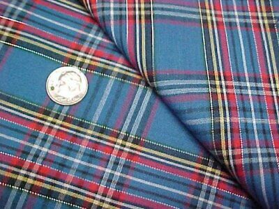 Vintage Cotton Quilt Fabric Blue RED Yellow Plaid Quilters Material Sew Craft