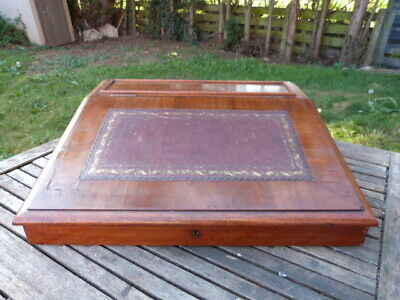 Lovely Antique Mahogany Veneer Desk Top Leather Top Writing Slope.