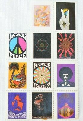 Vintage 1960's Hippy Stickers Peace Flower Power Hendrix The Doors LOT OF 11