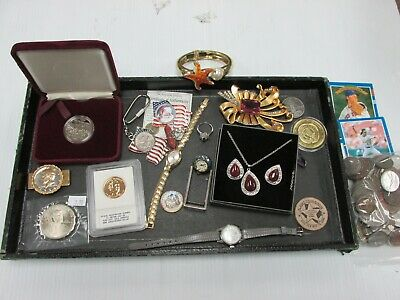 Junk Drawer Lot - Vintage Belt Buckles Watches Jewelry Coins Medals B9