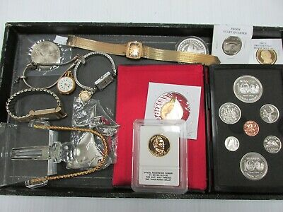 Junk Drawer Lot - Vintage Ornament Watches Jewelry Coins Medals BA