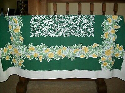Vintage Simtex Tablecloth Flowers Blue, Yellow, Green & White