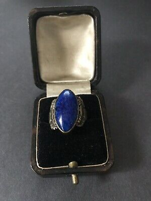 Lapis Ring - Very Old Scotish Thistle Design on Band in Leather Ring Box