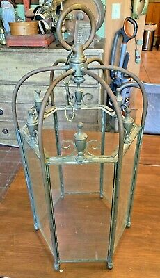 Large Antique Brass & Glass Open Hanging Hallway Hall Light Ceiling Fixture