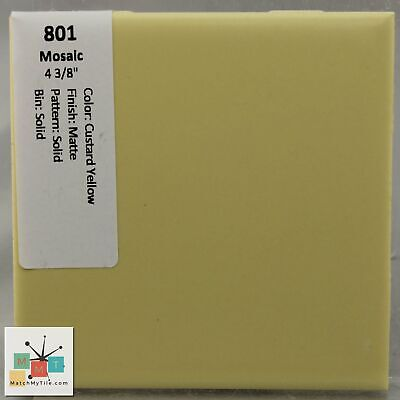 "MMT-801 Vintage 2"" Ceramic 1 pc Wall Tile Mosaic Custard Yellow Solid Matte"