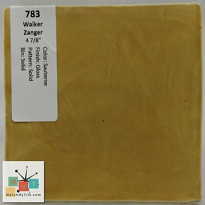 "MMT-783 Vintage 4 7/8"" Ceramic 1 pc Tile Zanger Sauterne Yellow Solid Glossy"