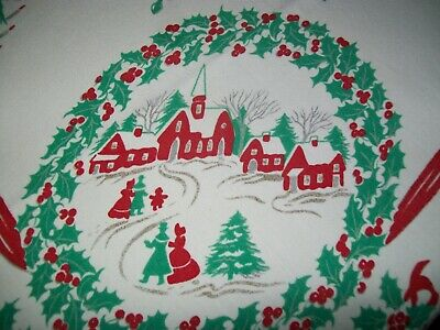 Vintage Christmas Tablecloth Village Scene, Trees, Ornaments, Bells, Etc.