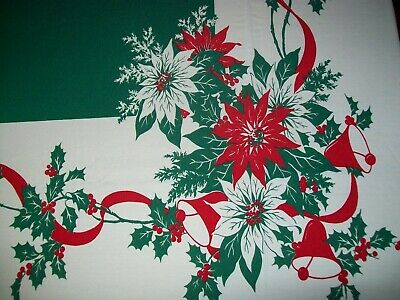 VINTAGE CHRISTMAS TABLECLOTH BELLS, POINSETTIA, HOLLY, 61 x 93