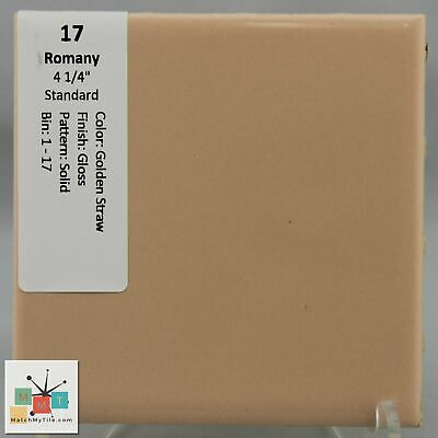 "MMT-17 Vintage 6"" Ceramic 1 pc Wall Tile Romany Golden Yellow Solid Glossy"