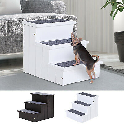 3 Step Wood Carpet Non Slip Pet Stairs Ramp for Cats and Small Dogs