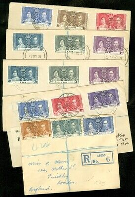 EDW1949SELL : BRITISH OMNIBUS Collection of 5 Registered covers for 1937 issue.