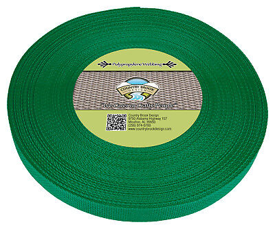 Country Brook Design® 1 Inch Kelly Green Polypro Webbing, 25 Yards