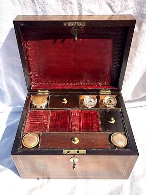 Antique Victorian Vanity Box Travel Box Inlaid ROSEWOOD with Lock & Key