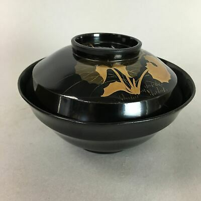 Japanese Wooden Lacquer Lidded Soup Bowl Vtg Black Owan Gold Makie QT6