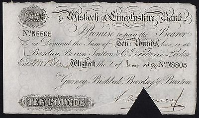 1894 WISBECH & LINCOLNSHIRE BANK £10 BANKNOTE * N 8805 * aEF * Outing 2382aa *