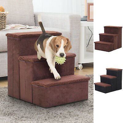 3 Step Pet Stairs Mobility Assistance Foldable Portable w/ Washable Fleece Faux