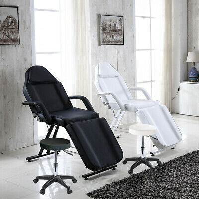 Beauty Salon Massage Bed Chair Black/White With Stool Tattoo Therapy Table New