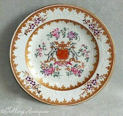 Antique 19thC Samson French Porcelain Armorial Plate Marked Allen Lowestoft