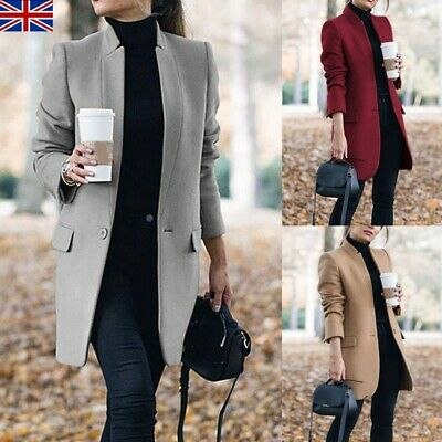UK Womens Winter Wool Long Coat Trench Jacket Ladies Warm Parka Overcoat Outwear