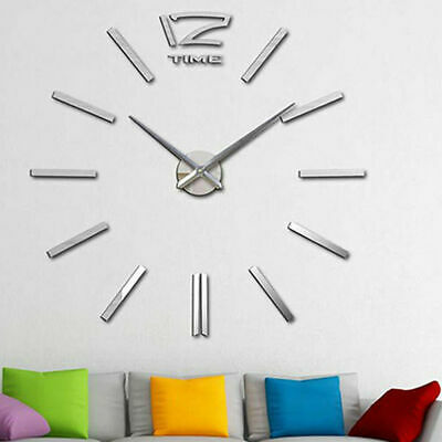Modern Home DIY Large 3D Number Mirror Wall Sticker Clock **UK FAST POST**