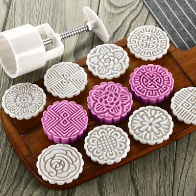 75g Mooncake Mold + 8 Flower Stamps DIY Baking Pastry Round Moon Cake Mould Tool