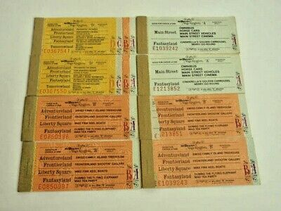 Walt Disney World Paper Tickets Vintage 1970s Adult 8 Booklets Magic Kingdom
