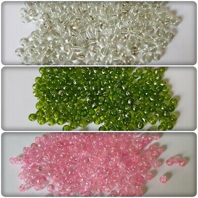 500 x Drawbench Round Crackle Glass Beads - 6mm [Various Colours Available]