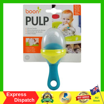 Boon Pulp Silicone Feeder, Green/Blue Teething Babies Self-Feed On Fruits & Veg