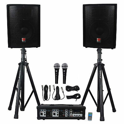 "Rockville RPG2X10 PA System w/ Mixer/Amp+10"" Speakers+Stands+(2) Mics+Bluetooth"