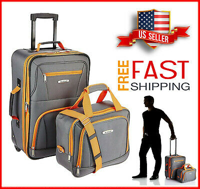 2Pcs Traveler Carry-on Rolling Luggage Suitcase Tote Bag Set Expandable Charcoal