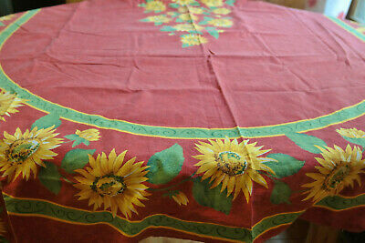 Vtg Fall Tablecloth Sunflowers