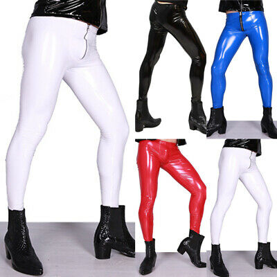 Herren Zipper PVC Lackleder Stage Hose Glanze Leggings Röhrenhose Hose Clubwear