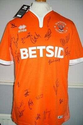 Large Blackpool Official Errea 2018 - 2019 Home Shirt Signed By Squad *Bnwt*
