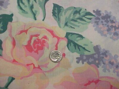 "5 1/2 yd Vintage Cotton Fabric Quilt Sew Material Pink Roses Foliage Estate 60""w"