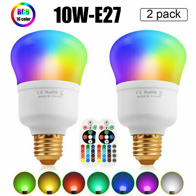 E26 10W RGB LED Light Bulb Multi Color Change Magic Lamp+Wireless Remote Control