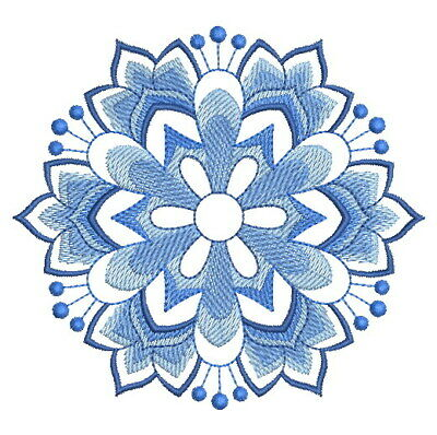 Delft Blue Christmas  Snowflakes-  Embroidered  Quilt Blocks